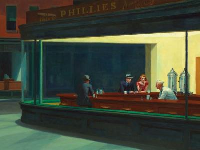 Nighthawks, Edward Hopper, 1942, Art Institute of Chicago Building