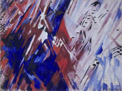 Red and blue rayonismo (beach), M. F. Larinov, 1911