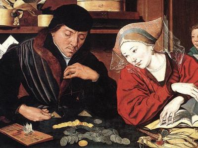 The Banker and His Wife, Marinus van Reymerswale, 1514, Louvre
